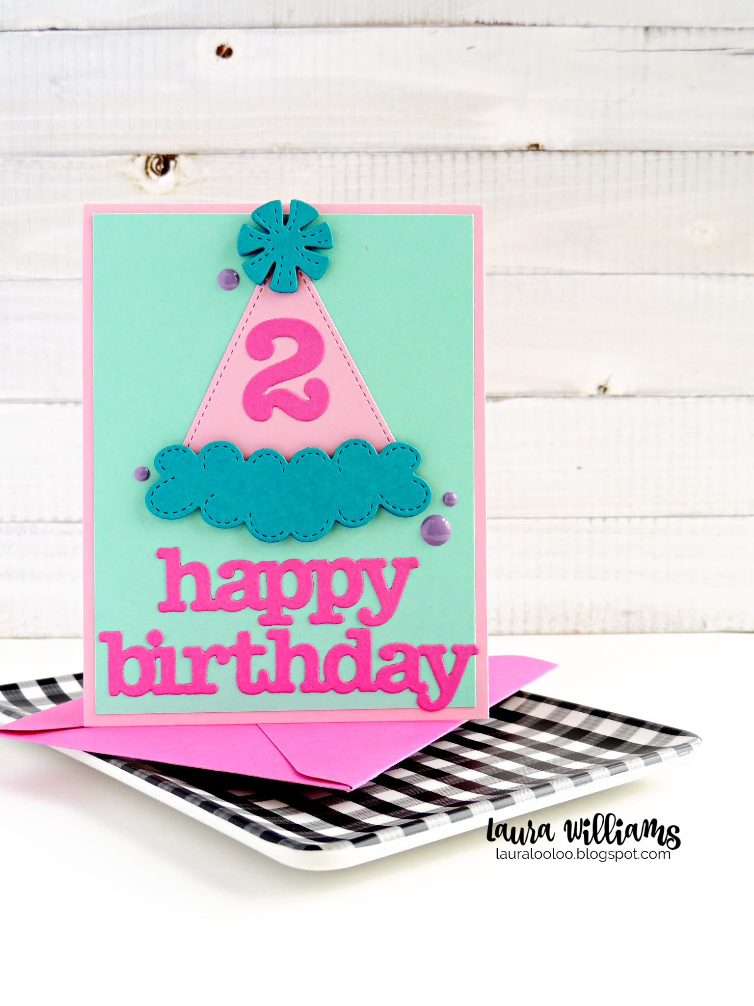 Happy 2nd birthday - stop by my blog to see more about this sweet handmade birthday card. Make your own with dies from Impression Obsession. Use the number dies and birthday word dies to customize the perfect birthday card for any age or person. Stop by my blog to see more ideas with these great die cutting supplies from Impression Obsession.