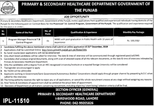 Jobs in Primary and Secondary Healthcare Department Govt of Punjab 2019