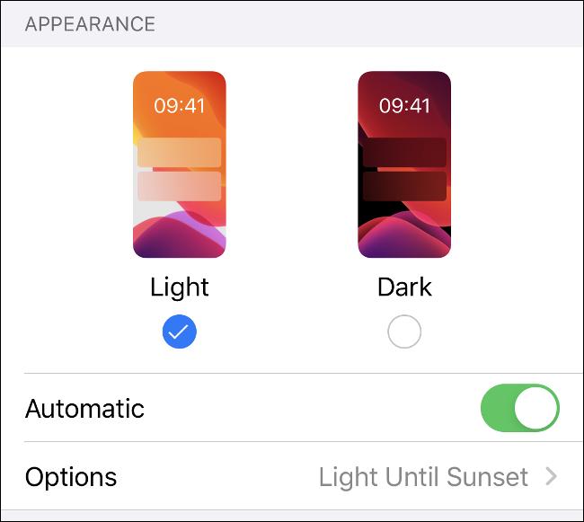 قائمة وضع الإضاءة والظلام في iOS 13.