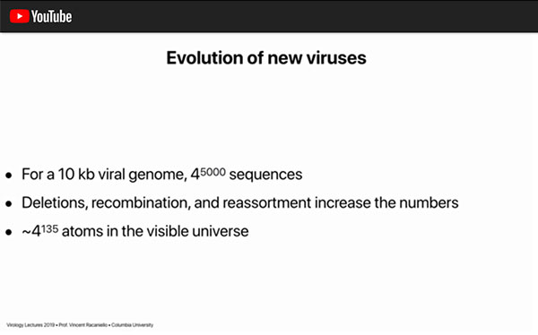 More potential information in10 kb viral genome than the number of atoms in the universe (Source: Vincent Racaniello)