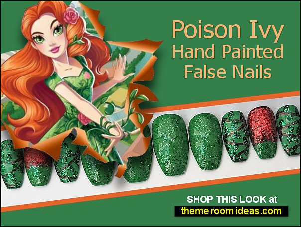 Poison Ivy Hand Painted False Nails Cosplay Halloween  Harley Quinn nails The Joker  nails uperhero nail decorating ideas super girls
