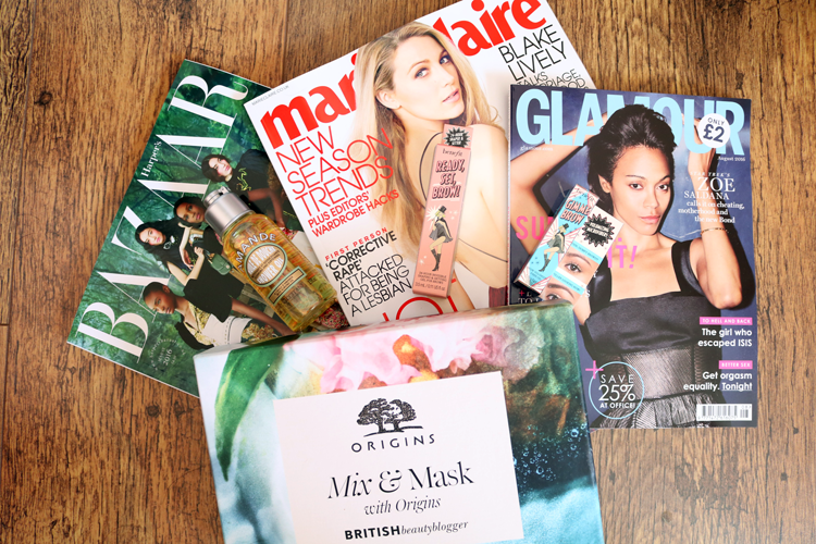 UK Magazine Freebies: Benefit with Marie Claire & Glamour, L'Occitane with Haper's Bazaar + British Beauty Blogger's Origins Mix & Mask Box
