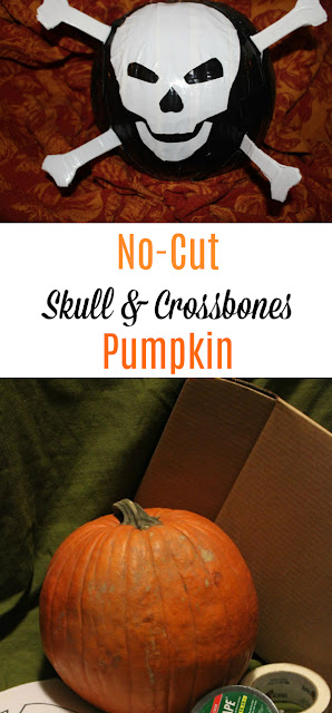 Make this awesome skull and crossbones Halloween pumpkin using Duck Tape and some handy cutting skills!