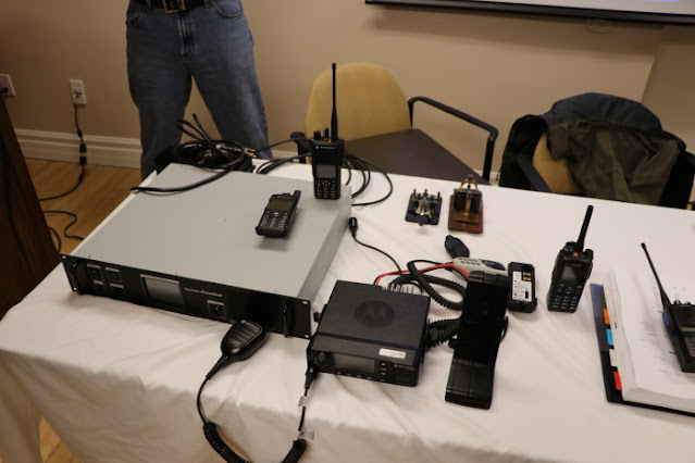 Andre VE3WZW brought a table full of DMR! Repeaters, mobiles, and handhelds