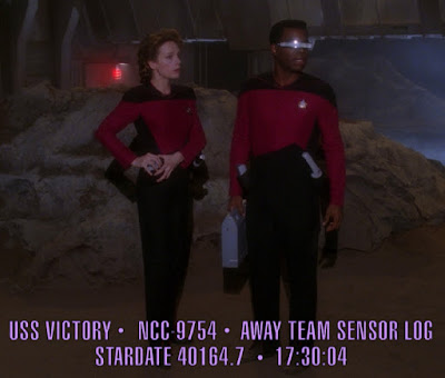 Early TNG uniform jumpsuits worn by Victory crew