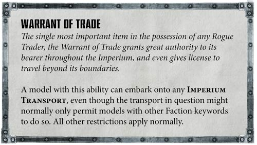 Reglas especiales Rogue Traders 40k