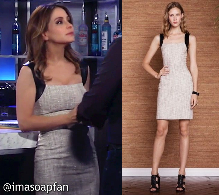 Olivia Falconeri, Lisa LoCicero, Cream Tweed Dress with Leather Straps, L'Agence, GH, General Hospital