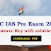 UPSC IAS Pre Answer Key 2017 with solution Download PDF