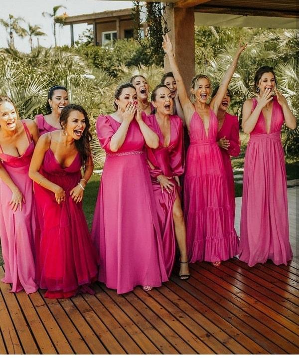 paleta pink e fucsia para madrinha de casamento