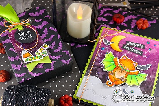 Happy Halloween Card and Treat Bag by Ellen Haxelmans | Batty Newton Stamp Set, Flying Bats Stencil and more by Newton's Nook Designs #newtonsnook