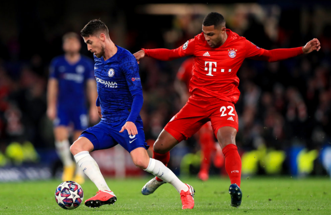 Serge Gnabry challenges Chelsea's Jorginho in UCL action