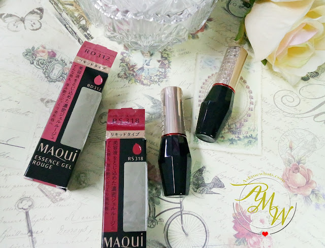a photo of Shiseido Maqui Essence Gel Rouge Review in RD312 and RS318