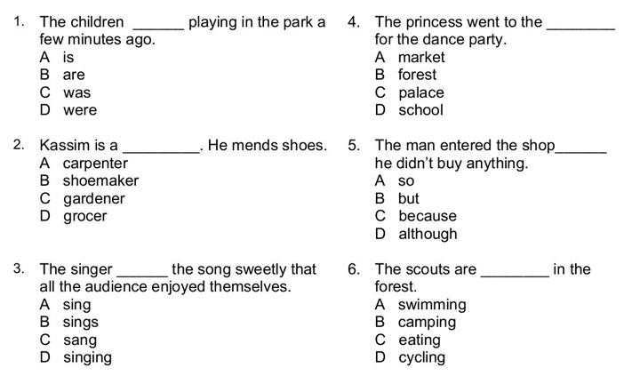 Contoh Soalan Seksyen Kefahaman Bahasa Inggeris