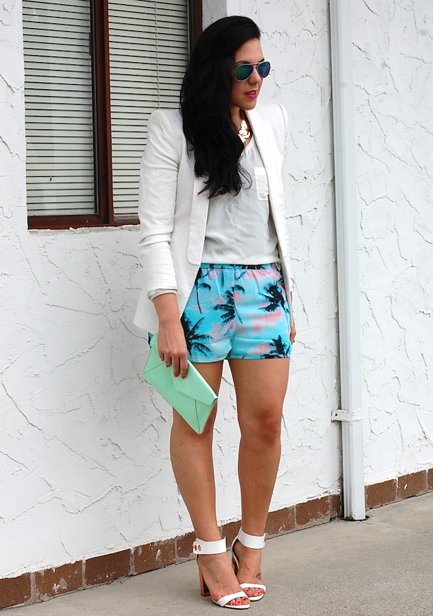 Forever 21 palm print shorts, paradise shorts,Zara blazer, mint Gap clutch and Topshop heels.