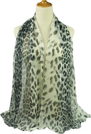 Beautiful Leopard Print Silky Chiffon Scarves