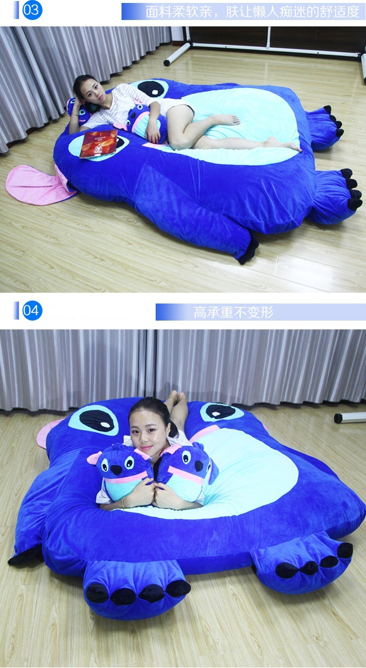 Stitch tatami thicken long lazy cat cartoon sleeping mattress pad, double mattress sofa bed shop sleeping pad