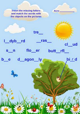 ESL worksheet, spring vocabulary