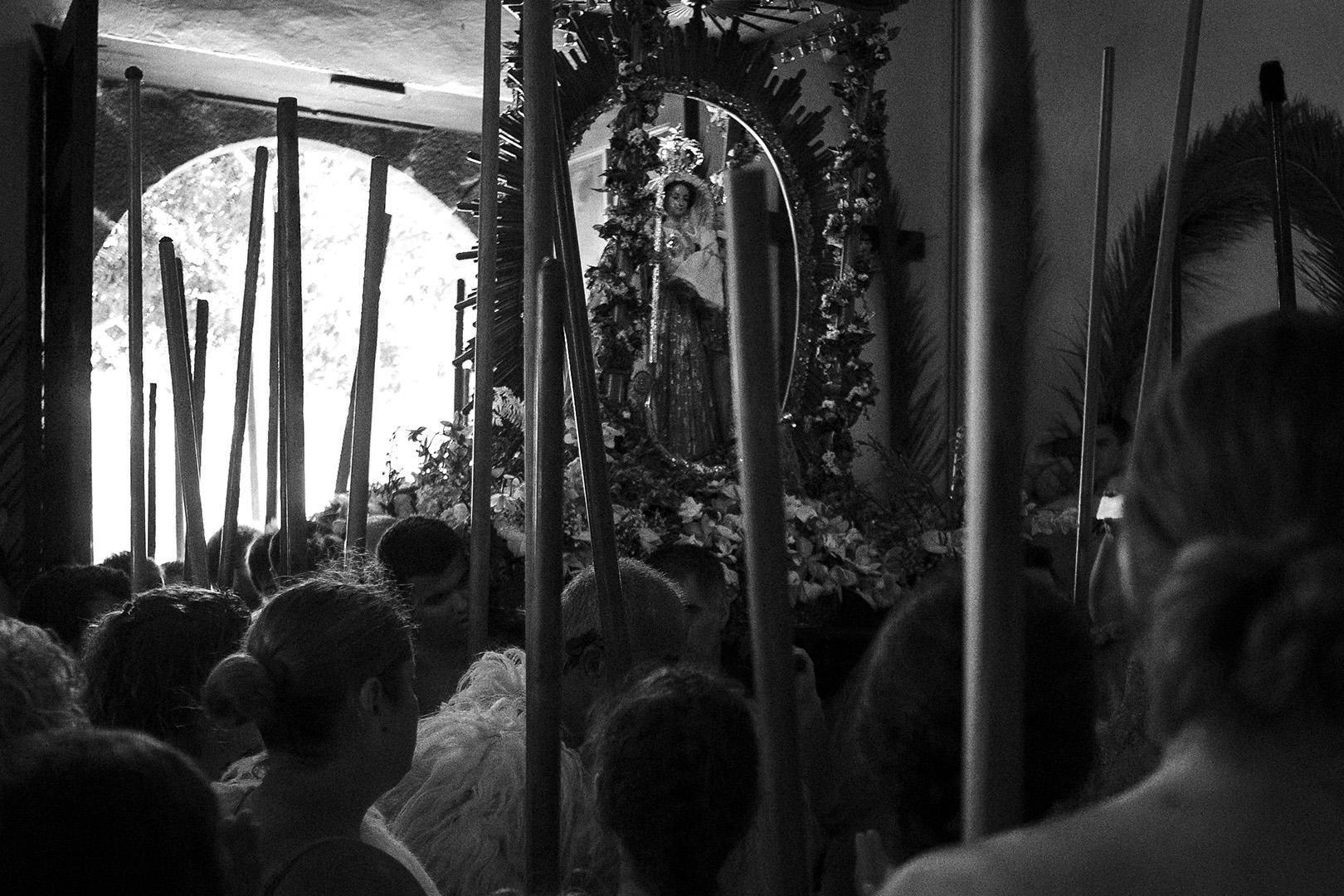 Romeria, Guimar - Socorro; La Virgen with guanches entering the church / ermita