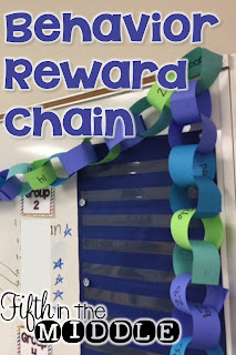 Students create a chain of rewards with one link for every remaining day of school. At the end of the day, a link is removed and the reward is given if students were behaved that day.