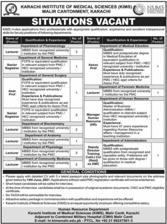 Teaching Jobs in Karachi Institute of Medical Sciences KIMS 2021