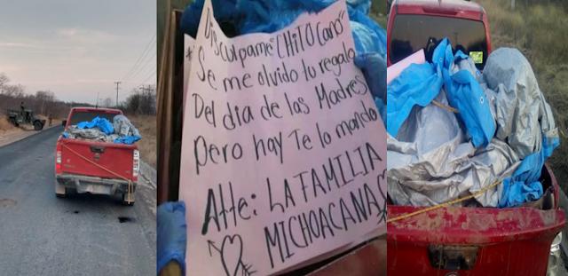 """""""Discúlpame """"Chito Cano"""", Se me olvido tu regalo del día de las madres"""" Familia Michoacana así dejo Narcomensaje y 12 ejecutados del CJNG en Huetamo; Michoacán"""