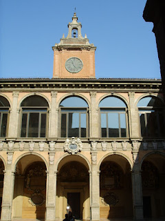 The inner courtyard of the Archiginnasio, which was completed in 1563