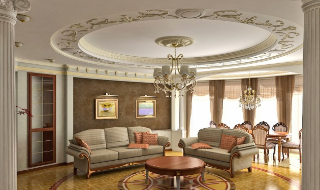 Living Room Gypsum Ceiling Design With Cornice Concealed Lights