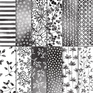 Petal Passion Paper - gorgeous black and white with a watercolour wash - get yours here - http://bit.ly/2ErfIOv