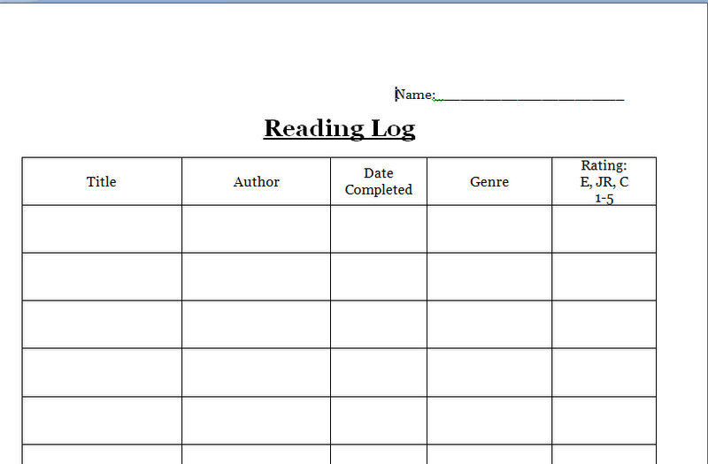 4th grade reading log template - 5th grade monthly reading log weekly reading logs for