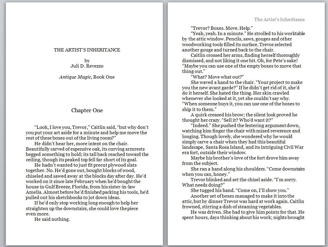The Artist's Inheritance, Juli D. Revezzo, page 1, witch fiction, paranormal, fantasy, pagan fiction