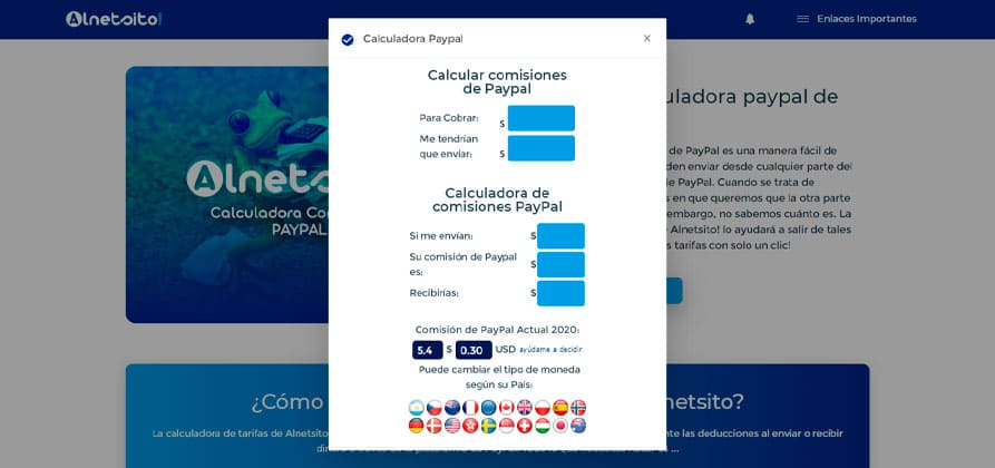 Muestra de la calculadora de paypal para comisiones online