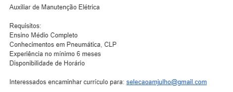 AUXILIAR DE MANUTENÇÃO ELÉTRICA