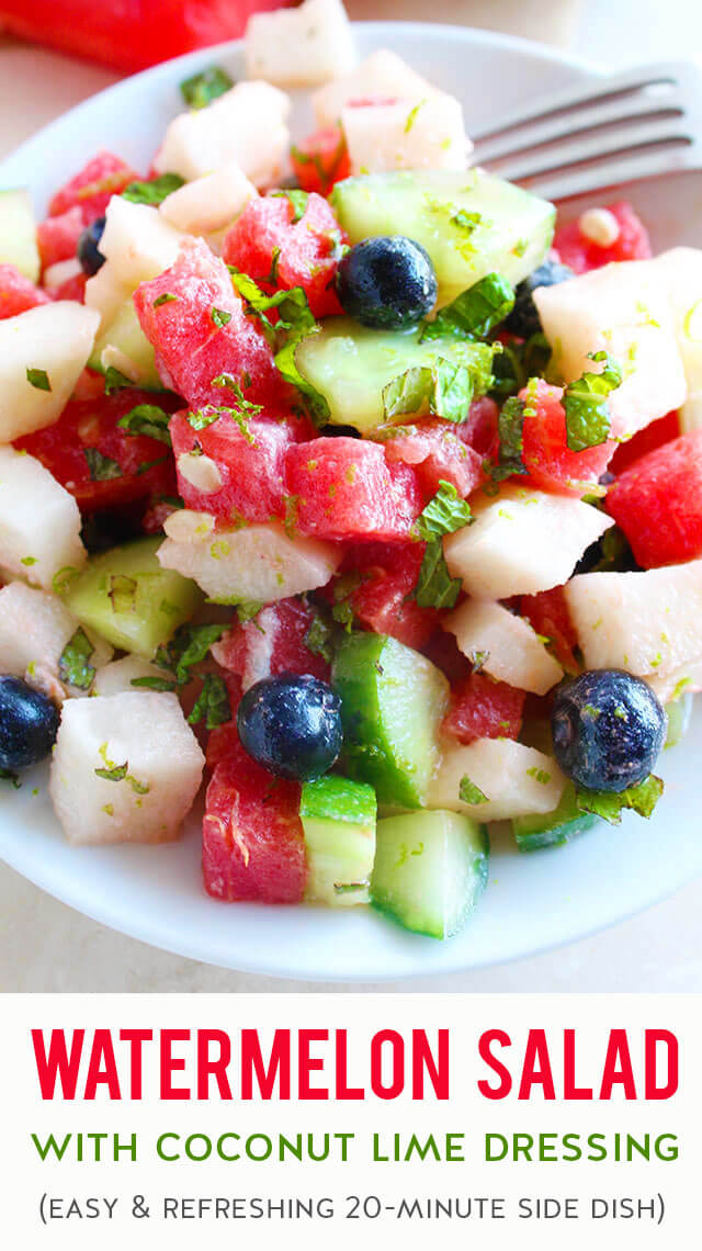 A quick & easy recipe for watermelon salad with cucumber, jicama, blueberries, and fresh mint + a sweet & creamy coconut milk lime dressing. This healthy salad is packed with refreshing fruit & veggies that everyone will love when it's hot outside. Prep it in 20 minutes and bring it to your next picnic, cookout, potluck, BBQ, or party to serve as a side dish, snack, or dessert during the summer months. (gluten-free, dairy-free, paleo & vegan)