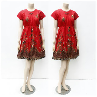 Dress Batik ainun hitam manis Merah
