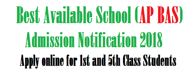 Best Available School (AP BAS) Admission Notification 2018 – Apply online for 1st and 5th Class Students