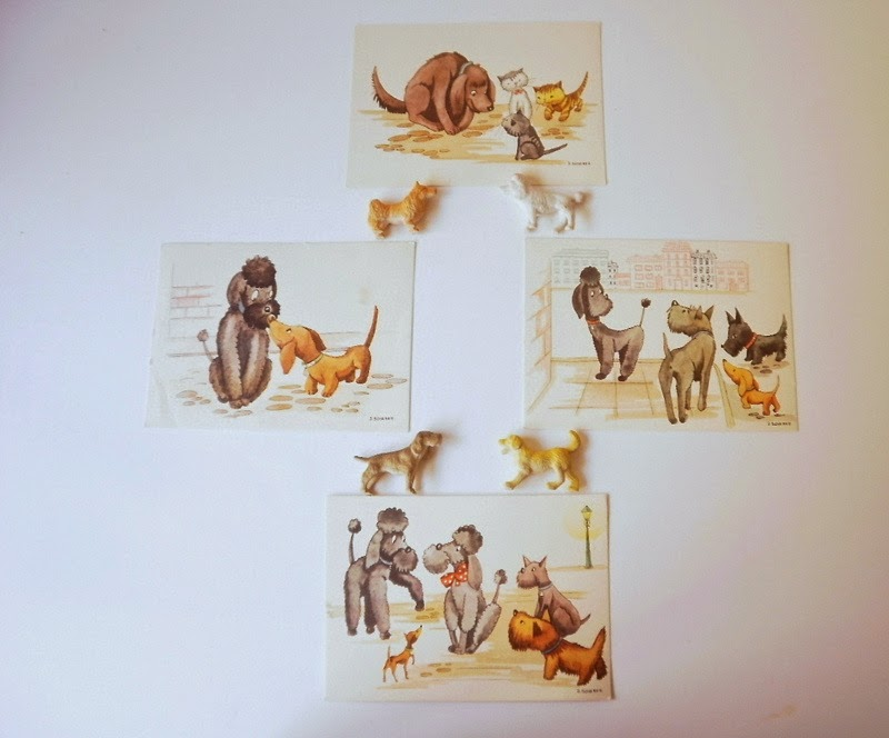 Vintage illustrated Post Cards of cute animals