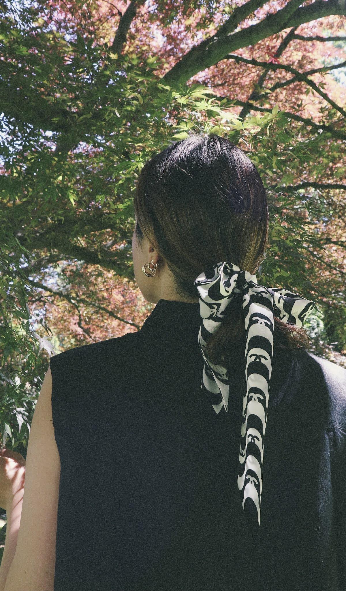 Chanel silk scarf hair bow summer 2021