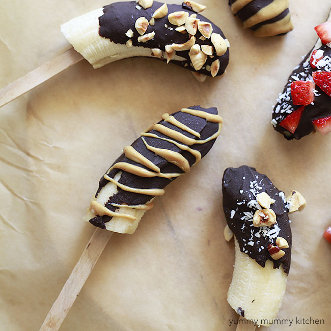 Chocolate Covered Frozen Bananas