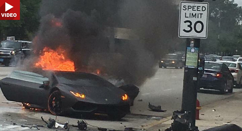Lamborghini Huracan Driver Saved Seconds Before Wrecked Supercar Bursts Into Flames