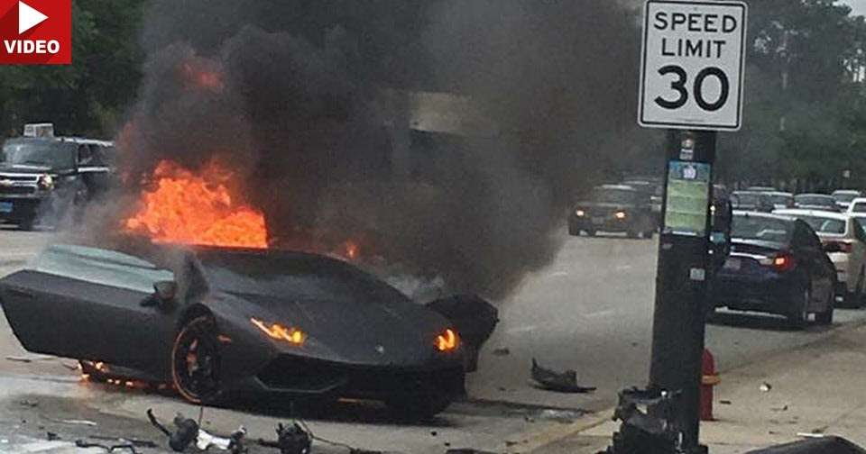 lamborghini huracan driver saved seconds before wrecked supercar bursts into. Black Bedroom Furniture Sets. Home Design Ideas