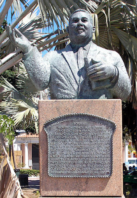 Bronze bust of Sir Milo Butler in Rawson Square, Nassau, Bahamas.
