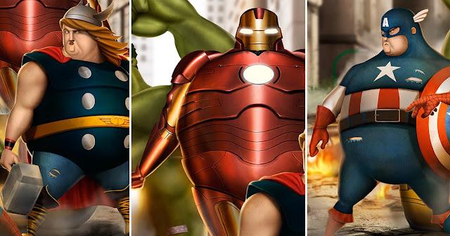 [10 Gambar] Comel Belaka, Apabila Superhero Kegemaran Ramai Berbadan Gemuk Montel