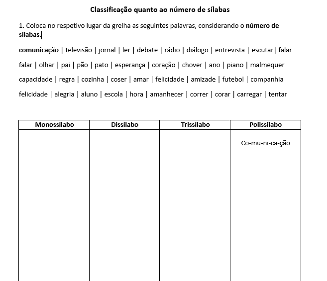 5.º ano - Classificação quanto ao número de sílabas