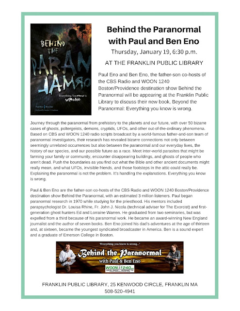 Franklin Library: Behind the Paranormal with Paul and Ben Eno - Jan 19 - 6:30 PM