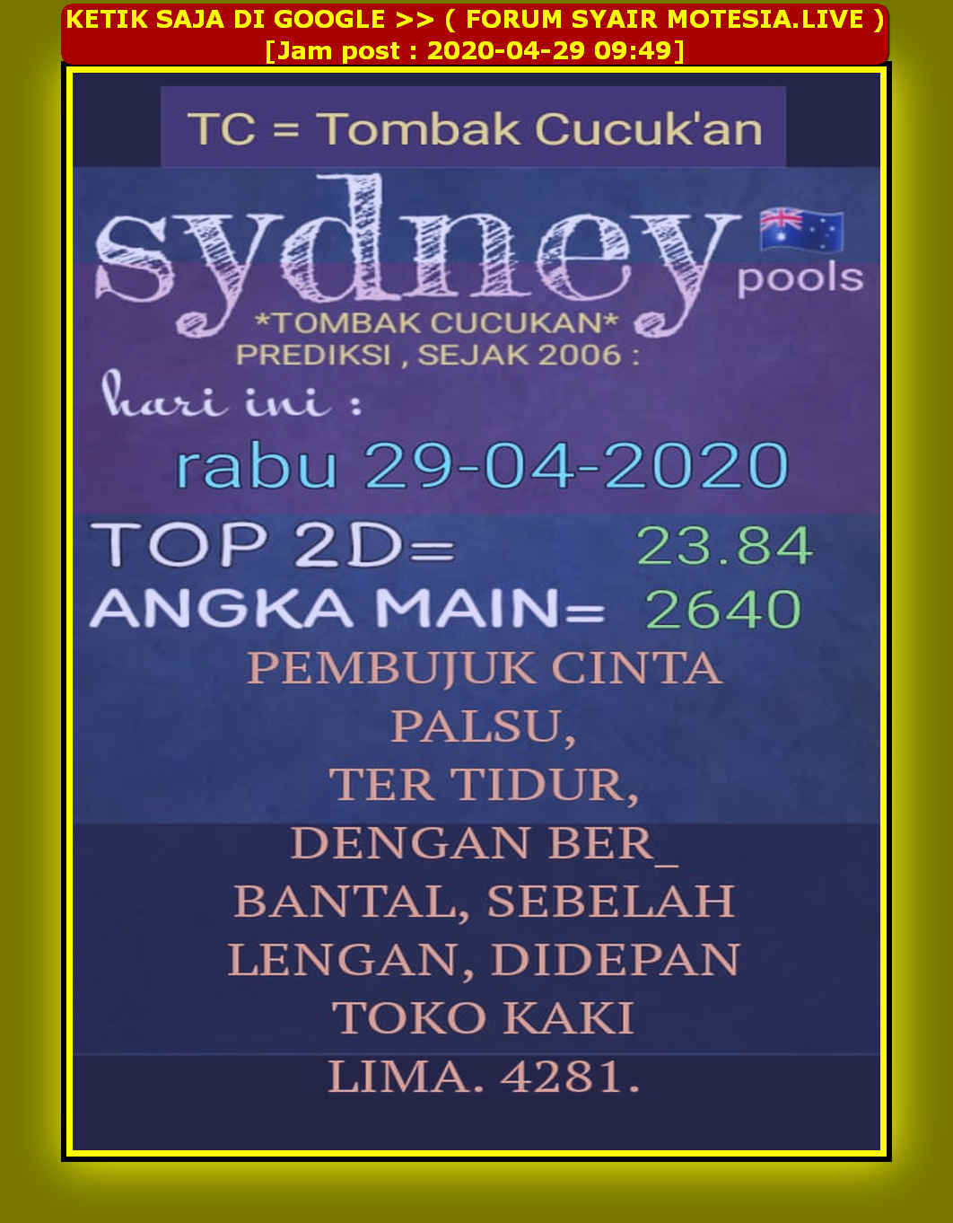 Kode syair Sydney Rabu 29 April 2020 27