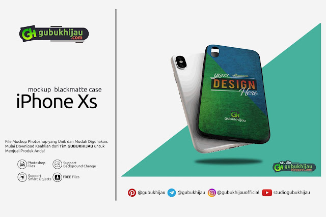 Mockup Blackmatte Case iPhone Xs by gubukhijau.com