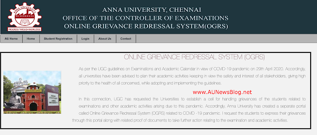 Anna University created new portal (OGRS) to clear students doubts or complaints regards Covid-19