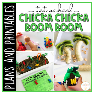 Tons of alphabet themed activities and ideas to go with Chicka Chicka Boom Boom. Weekly plan includes books, fine motor, gross motor, sensory bins, snacks and more! Perfect for fall in tot school, preschool, or kindergarten.