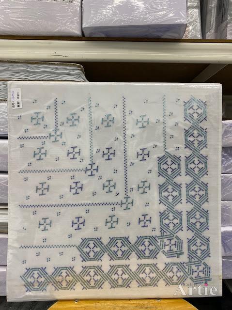 Hotfix stickers dmc rhinestone aplikasi tudung bawal fabrik pakaian bentuk abstrak hexagon biru silver