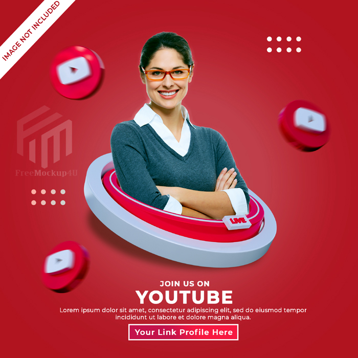 Follow Us Youtube Social Media Square Banner With 3D Logo Link Profile Box